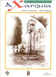- Editorial SECCIÓN DE HISTORIA - Bédar en el siglo XVI: población morisca, configuración agraria y repoblación con cristianos viejos de Vera y Mojácar tras la deportación de los moriscos en 1570. CARMEN RODRÍGUEZ-GERSCHWITZ - Historia de una farmacia. FEDERICO MOLDENHAUER GEA - El Somatén Nacional en Turre (1923-1931). FÉLIX GONZÁLEZ NÚÑEZ - Cuarenta años de pesca de arrastre en Garrucha: origen y desarrollo (1958- 1998). MANUEL LEÓN GONZÁLEZ SECCIÓN DE BIOGRAFÍAS - Notas para una biografía: el viajero Alí Bey en Vera. JERÓNIMO LÓPEZ FERNÁNDEZ - Karl Bahlsen y los cables mineros. ANTONIO ALONSO ARZA SECCIÓN DE PATRIMONIO - Notas para el estudio de la Arquitectura Militar en la zona de la Axarquía Almeriense. Siglos VIII al XVIII. (2ª parte). MARIANO MARTÍN GARCÍA - Un tesorillo de plata medieval del Tiján (Turre, Almería). SALVADOR FONTENLA BALLESTA - El tesorillo islámico de Garrucha del Instituto Valencia de Don Juan (Madrid). CRISTINA FORTEZA DEL REY OTEIZA Y ERNESTO AGUSTÍ GARCÍA. SECCIÓN DE ARTE - José Antonio Parra Menchón, «artista pintor», nacido en Zurgena. ADELA SEGURA MARTÍNEZ - Ginés Parra: un hombre para la historia. ANTONIO BUJALANCE CUBILLO - Ginés Parra. ANTONIO RODRÍGUEZ LOZANO SECCIÓN HERÁLDICA Y GENEALOGÍA - De la piedra al papel. Un testimonio documental y heráldico de un señor de la guerra del quinientos. MARÍA LUISA ANDRÉS UROZ SECCIÓN ETNOLOGÍA Y FOLCLORE - El baile bolero en el Levante almeriense: los maestros Juan Luis Fernández y Francisco Fernández Cortés. LUISA MORALES LÓPEZ DEL CASTILLO - El traje de mojaquera. FEDERICO MOLDENHAUER CARRILLO - Carboneras: modalidades de pesca artesanales en un puerto del Levante almeriense. JOSÉ MÁRQUEZ ÚBEDA - Signos y acotaciones de nuestros Viacrucis y Procesiones. FRANCISCO HENARES DÍAZ SECCIÓN DE NATURALEZA - Introducción a los árboles y arbustos autóctonos de Vera ( 1ª parte). RICARDO MASIP SALVI Y JUAN FRANCISCO MUÑOZ PÉREZ - Plantas silvestres comestibles de nuestros huertos. JOSÉ LUIS GUIL GUERR