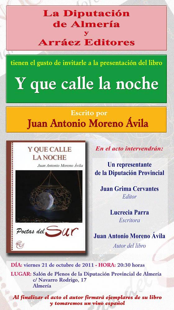Presentación libro de poesía Y QUE CALLE LA NOCHE... de Juan Antonio Moreno Ávila