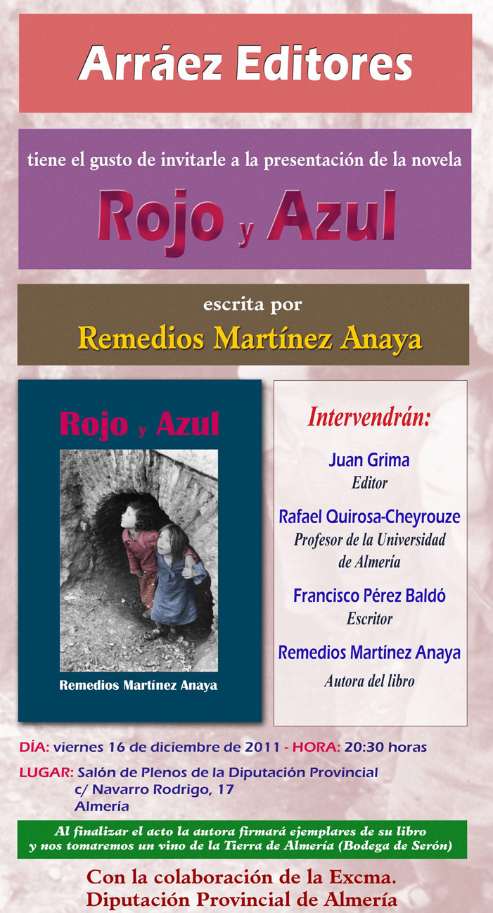 """PRESENTACIÓN NOVELA """"ROJO Y AZUL"""" DE REMEDIOS MARTÍNEZ ANAYA EN ALMERÍA"""