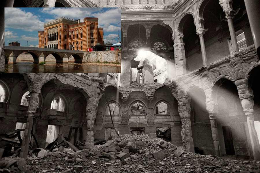 El antes y el después de la biblioteca de Sarajevo