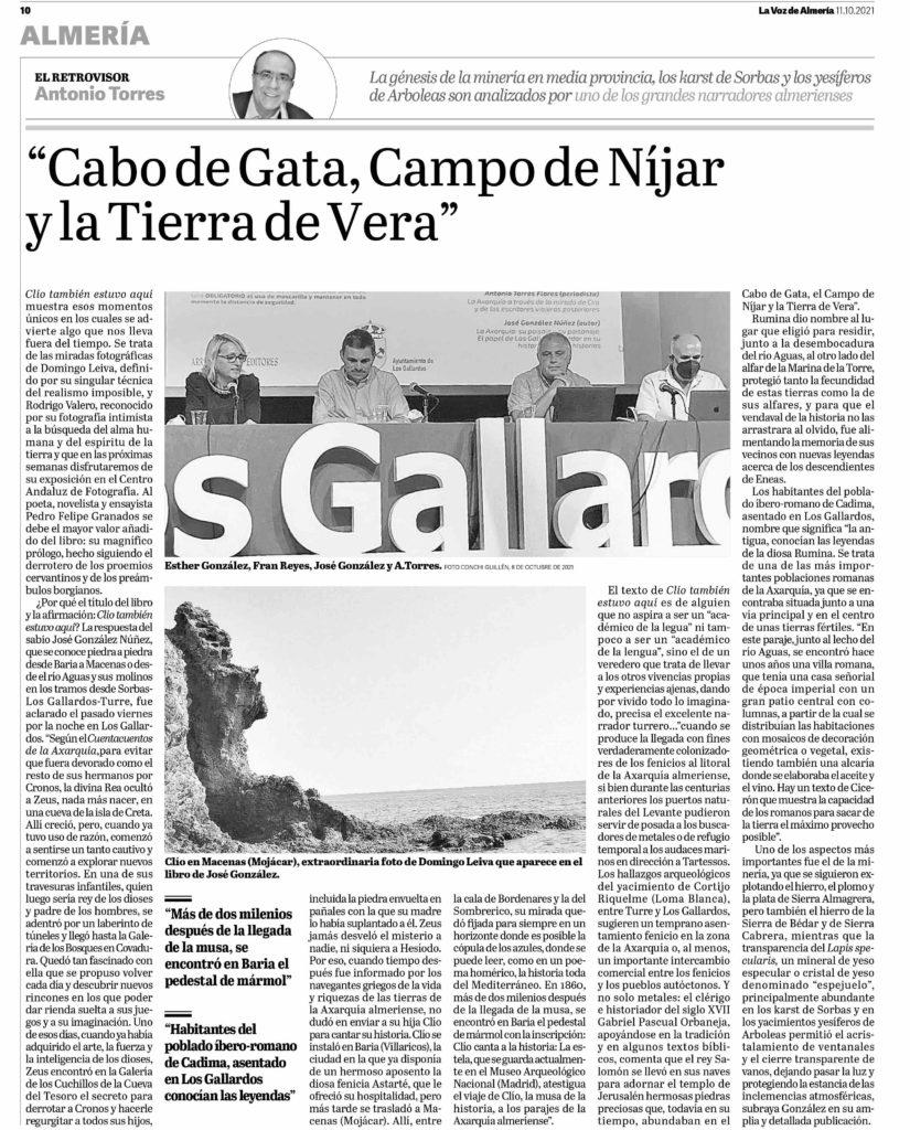Clío También Estuvo Aquí en La Voz de Almería 11 de octubre de 2021