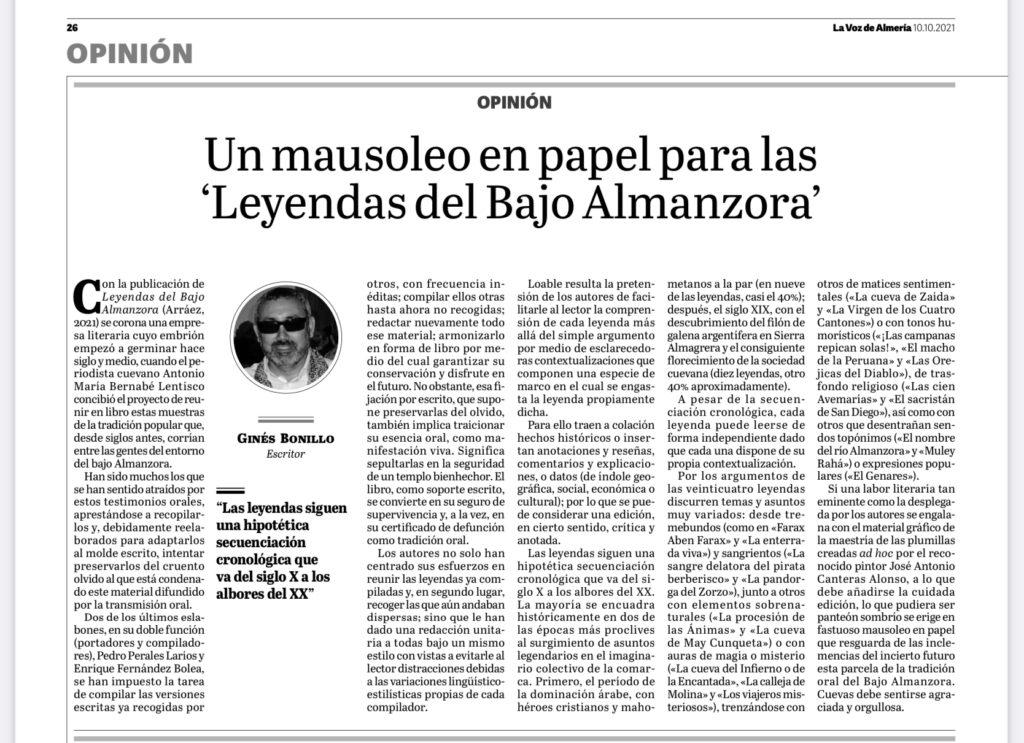 Artículo de Ginés Bonillo en La Voz de Almería sobre Leyendas del Bajo Almanzora